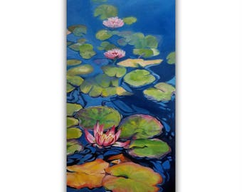 Oil Painting, TRANQUIL-LILIES, Original Oil Painting, flowers, lily pads, lily pond, water, painting, signed by the artist, ArtbyDanaC