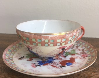 Vintage Asian styled Teacup and Saucer