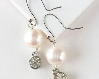 White Freshwater Pearl and Rhinestone Earrings