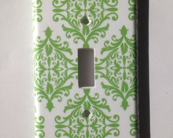 Green and White Damask Single Light Switch Plate Cover