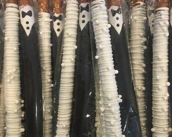 Bride & Groom Pretzel Rods - Wedding Pretzels, Wedding Favors, Edible Favors, Bridal Shower, Engagement Party, Chocolate Pretzels