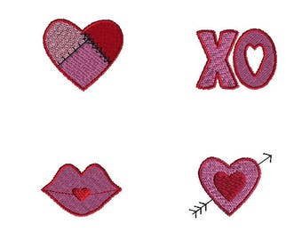 Mini Valentine Machine Embroidery Design Set-INSTANT DOWNLOAD