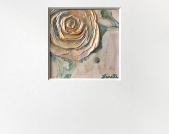 Abstract Modern Rose Plaster Painting in White, Teal and Metallic Gold w/ White Mat - Original Acrylic Art on Panel