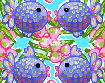 Preppy fish digital paper - Original Art download, pink green turquoise digital paper, preppy download