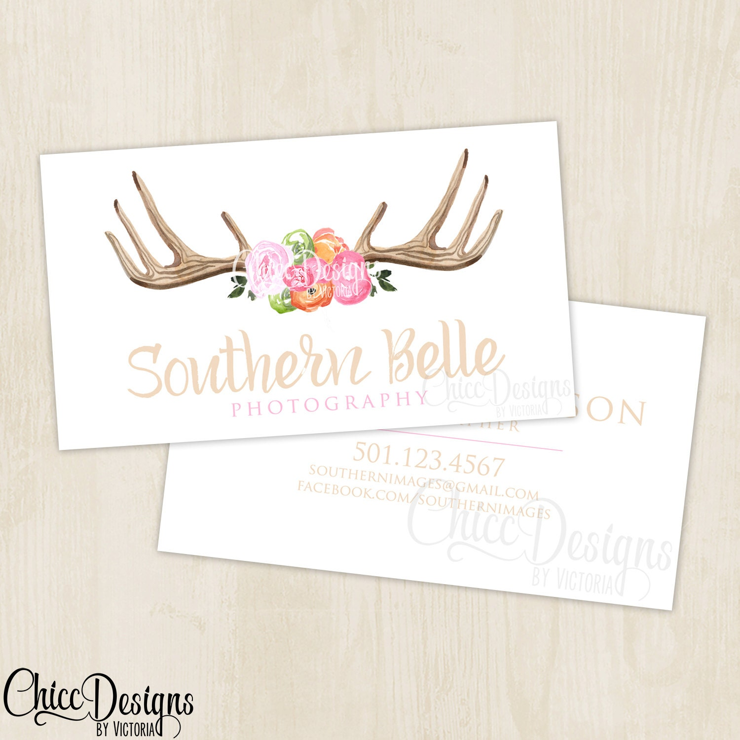 Photography Business Card Antlers Rustic Shabby Chic
