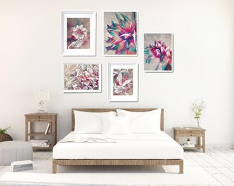 Large Wall Decor Set, Pink Floral Art Print Set, Pink Bedroom Wall Art, Wall Art Bundle, Gallery Wall Set, XL Wall Decor, Modern Photo Decor