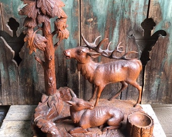 Black Forest Wood Carving Stag and Doe