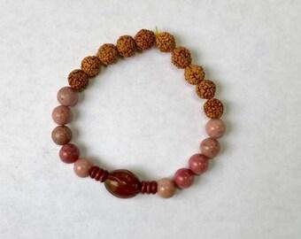 Rudruksha and Rhodonite bracelet