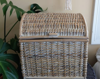 White washed fabric lined wicker chest with side handles