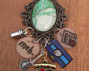 New York pendant necklace with shrink art and silver charms