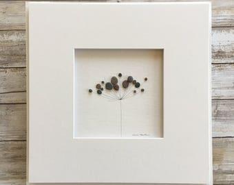 Botanical Art, Pebble Art, Minimal Art, Original Art by Sharon Nowlan. Matted or framed, 12in x 12in.