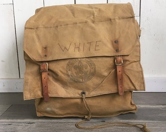 1960s Canvas & Leather Boy Scout Backpack, Rucksack, Yucca Pack No. 574 - Official Boy Scouts of America Pack