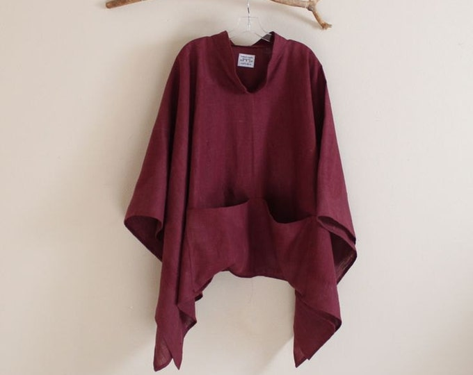 custom heavy linen swallow poncho big pockets free size / thick linen poncho / linen outerwear / plus size poncho