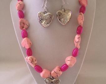 Pink Rock Necklace Earring Set