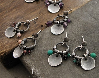 Small earrings, raw sterling silver, spinel, amazonite, garnet, opal, amethyst, oxidized silver