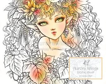 Digital Stamp - Instant Download - Harvest Elf - Beautiful Fairy in Autumn Leaves - digistamp - Fantasy Line Art for Cards & Crafts