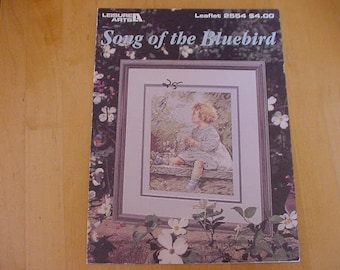 Vintage 1994, Song of the Bluebird, Counted Cross Stitch Pattern, Leisure Arts 2554, Flowers, Little Girl