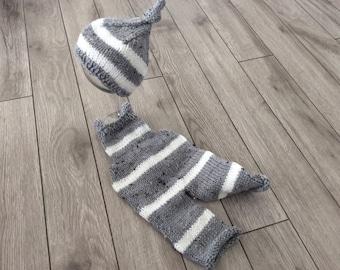 Newborn Boy  Photo Prop ,Baby boy Overalls and Hat,Hand knitted Baby boy knit overalls,hand knitted baby hat Photo prop set