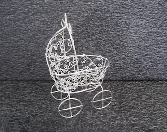 Vintage Mini Wire Baby Carriage - SALE! 3.00 each  - Great for Baby Shower Cake Topper - SILVER