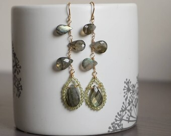 Antique style princess labradorite earrings,sophisticated jewelry, unique earrings, peridot and labradorite