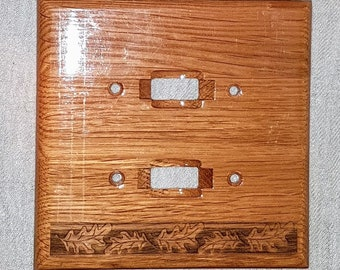 3 Vintage Wood Light Switch Plate Covers, Ornate, 1 Double, 2 single, bois, Cottage Country Chic, vintage home decor, vintage hardware