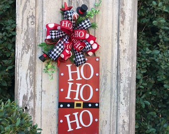 Ho Ho Ho door hanger, Christmas Door Hanger,Holiday wreath for front door, Santa Wreath, Holiday wreath for sale, Santa door wreath