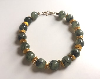 Abbott's Lagoon: Green prehnite and gold vermeil. Necklace and earring set.