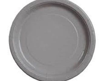 Grey - Gray - Silver Paper Plates - Disposable Party Plates - Wedding - Birthday -  sc 1 st  Etsy & Grey plates | Etsy