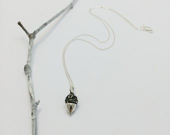 Sterling silver minimalist acorn necklace, Oak fruit, Oak tree, Nature Jewelry, Handmade jewelry, Woodland necklace, Botanical jewelry
