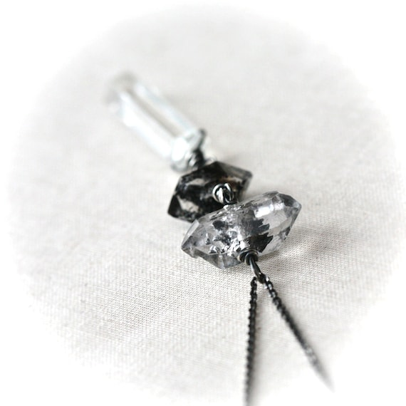 Double Moss Herkimer Diamond with Rock Crystal Point Sterling Silver Necklace