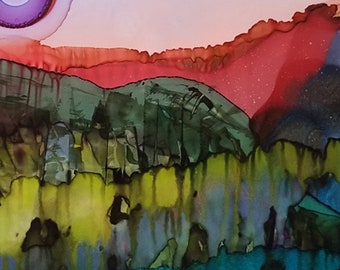 Roused River - Original Alcohol Ink Painting / Original Art / Landscape Painting / Original Art Painting / One of a Kind / Abstract