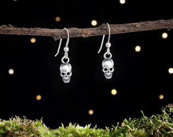 Sterling Silver Teeny Tiny Skull Earrings