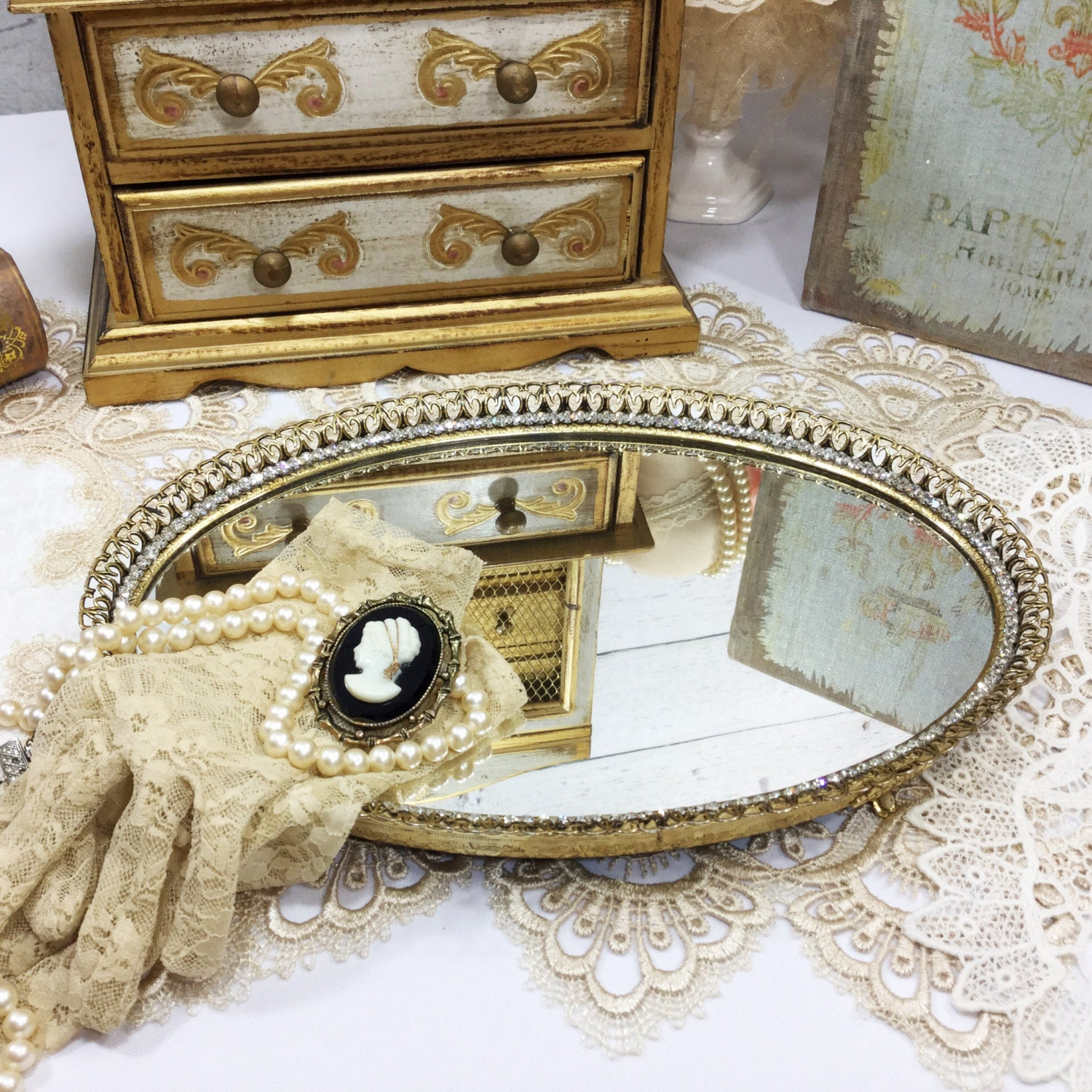 tray house trays dresser mirror mirrored for vanity doherty round
