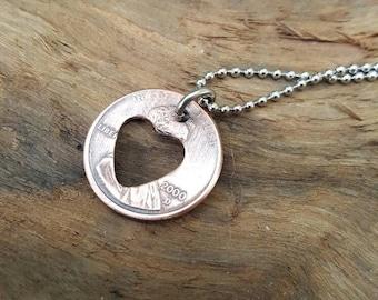 Heart Lucky Penny Drop Pendant