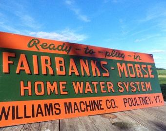 Fairbanks Morse Home Water Williams Poultney VT Vintage Metal Advertising Sign