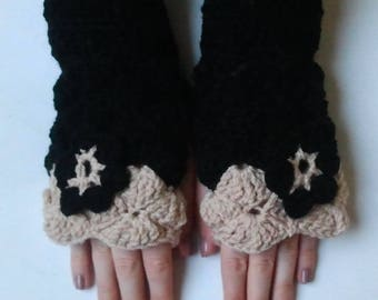 fingerless gloves crocheted black and sand with matching flower - crochet-Fingerless wool mittens handmade Fingerless