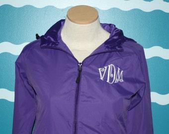 Ladies Monogram Zip up wind braker - Ladies Monogrammed Jacket - full zip jacket - personalized ladies jacket - light weight - Monogram Coat