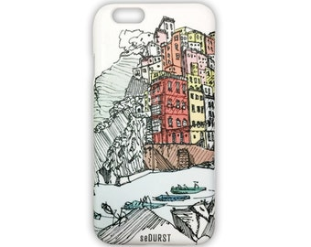 iPhone 6 Case w/ Art Sketch of Italy Cinque Terre