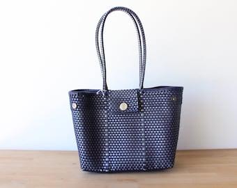 Navy Blue & Silver Woven Tote bag, Picnic Basket, Beach Bag, Getaway Bag, Picnic Bag, Weekend Bag, Travel Bag, Mexican Gift, Mexico Bag
