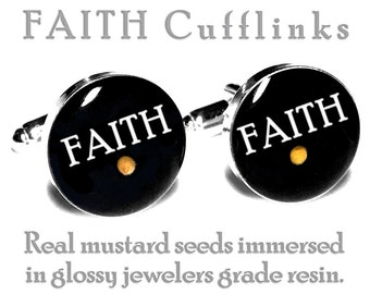 Mustard Seed FAITH Cufflinks, Wedding Cufflinks, Groom, Fiance Gift, Grooms Cufflinks, Religious, Christian, Catholic,  Anniversary