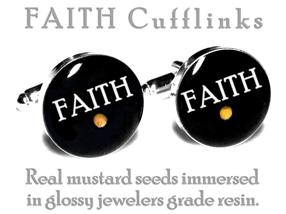 Mustard Seed FAITH Cufflinks, Wedding Cufflinks, Groom, Fiance Gift ...