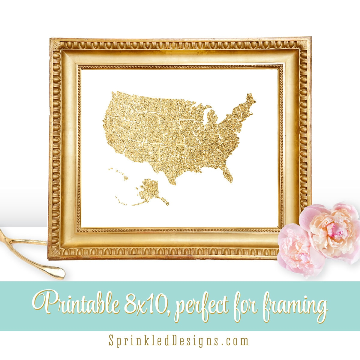 Printable Gold Glitter Map of United States Gold Home Decor