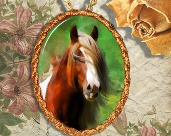 Paint Horse Gypsy Vanner Jewelry Pendant or Brooch Handcrafted Ceramic
