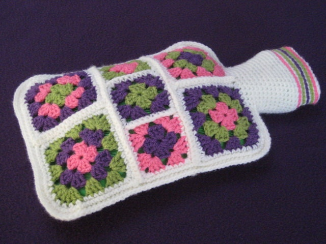 Granny Square Hot Water Bottle Cover Cosy Crochet PATTERN PDF from ...