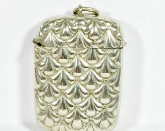 Vintage silver plate vesta case Match striker Match holder Match safe Patterned body Silverplate match case
