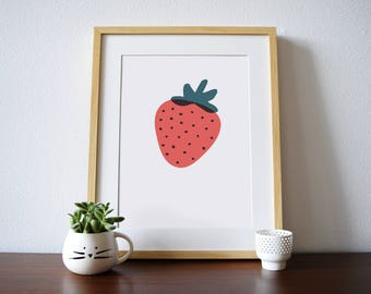 Strawberry - a Scandinavian modern design print // 8.5x11 or 13x19 // poster for nursery or children // kitchen wall art // kitchen decor