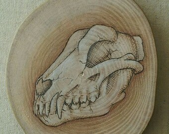 Wolf skull pyrography - wood burning on reclaimed wood