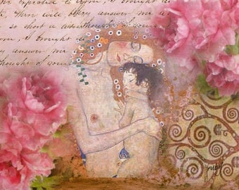 ZNE ATC ACEO - Klimt Mother and Child - Digital Collage Art by ruby