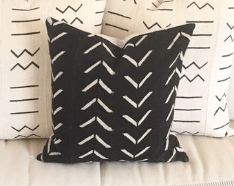 Tribal African Mudcloth Pillow  in Black with White Traditional Large Stacked V   Boho Modern Farmhouse
