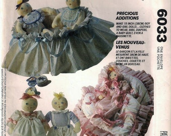 McCalls 6033 Crafts Nursery Friends Boy And Girl Doll,Clothes,Bassinette,Quilt Sewing Pattern UNCUT